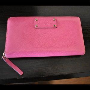 Neon Pink Kate Spade Zip around Wallet